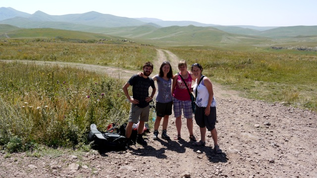 With other hitch-hikers from Poland in southern Armenia