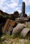 The ruins of temple columns - Ani, Turkey