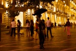 Statue of woman holding an umbrella and mobile phone, taken on Fountains Square – Baku by night - Bakı, Azerbaijan (4)