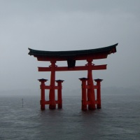 Floating Torii in monsoon weather