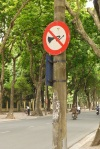 Sign requesting No Horns, near the tomb of Ho Chi Minh - Ho Chi Minh City, Vietnam (6)