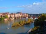 View across the River Tarn with Old bridge and New bridge both prominent - Albi, France (82)