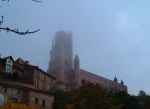 Albi Cathedral covered by the early morning mist - Albi, France