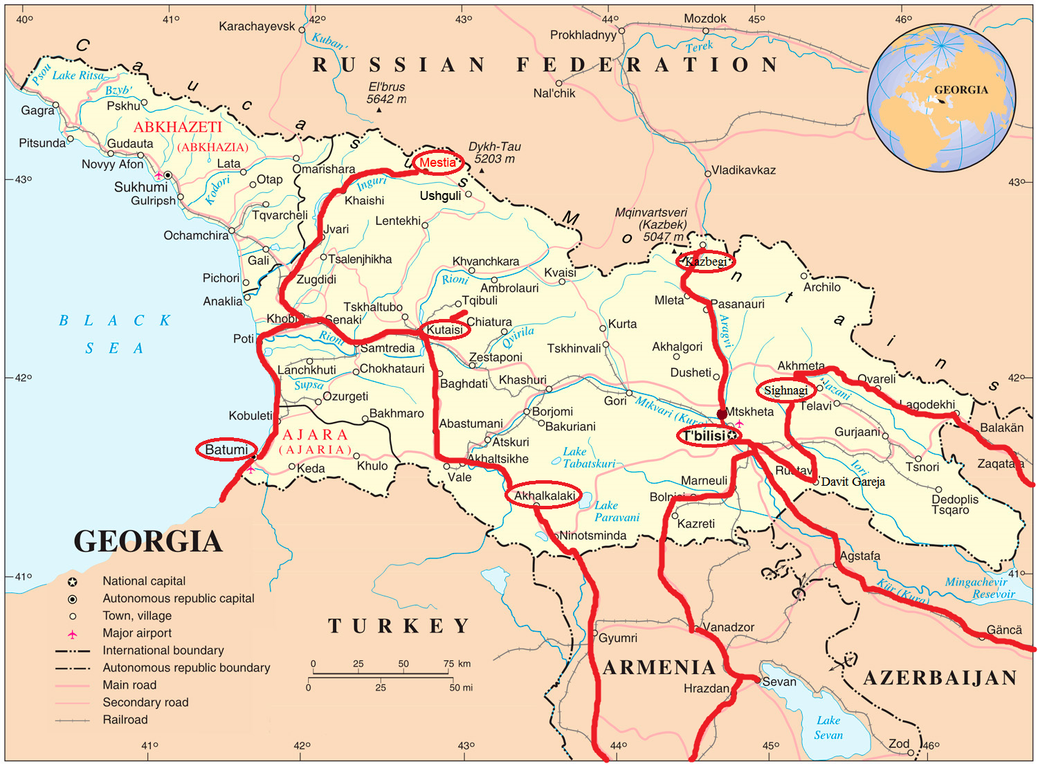 Georgia Map Kazbegi – Georgia Tourist Map