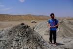 Jon and a Mud Volcanoes in windswept Gobustan National Park - Gobustan National Park, Azerbaijan (11)