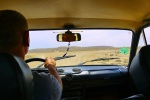 In a taxi on our way to the Mud Volcanoes - Near Quobustan, Azerbaijan