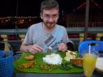 Eating dinner from a banana leaf - Cameron Highlands, Tanah Rata, Malaysia (1)