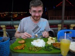 Eating dinner from a banana leaf - Cameron Highlands, Tanah Rata, Malaysia (1)