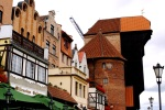 Buildings along Motława River promenade and Medieval port crane - Gdansk, Poland (12)