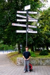 A lamp post marking the distance to cities around the world - Gdansk, Poland (22)