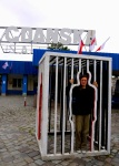 Ania trapped in a cage, outside Gdansk Shipyard - Gdansk, Poland (27)