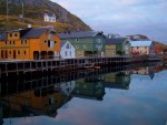 Village harbour reflected in the water - Nyksund, Norway (4)