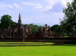 Wat Mahathat with lotus-bud chedi on a sunny day - Sukhothai Historical Park, Thailand (12)