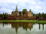 View of Wat Mahathat, seen across a lake - Sukhothai Historical Park, Thailand (8)