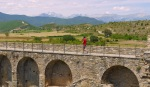 Man walking across the walls of Ainsa Castle- Ainsa, Spain (22)
