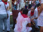 People covered in red wine, enjoying the festivities - San Fermín - Pamplona, Spain (11)