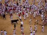 Crowds of white and red scattered by the bull, taken in Pamplona Bullring - San Fermín - Pamplona, Spain (28)