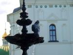 Fountain with pigeon with Church of the Saviour at Berestove, near Kiev Pechersk Lavra Monastery in the background - Kiev, Ukraine
