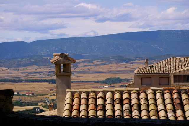Rooftop and chimney with surrounding countryside - Sos del Rey Catolico, Spain