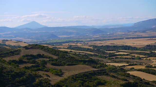 Panorama of the Onsella Valley and Pyrenees peaks in the distance - Sos del Rey Catolico, Spain