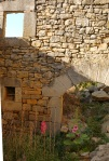 Stone wall with window and small arch, with flowers growing in the foreground - Sos del Rey Catolico, Spain