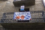 An Aragonese flag hanging from a balcony - Sos del Rey Católico, Spain