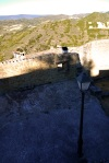 Shadows falling on stone walls and lamp post in the foreground - Sos del Rey Catolico, Spain