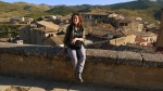 Ania on top of St. Stephan's Church, the highest point in the town - Sos del Rey Catolico, Spain