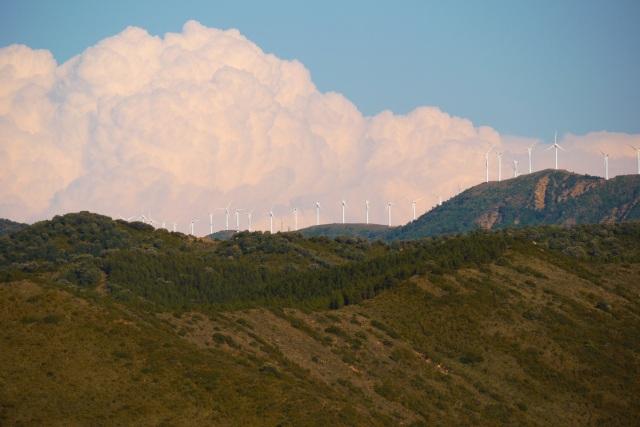 Wind turbines on the hills surrounding Sos del Rey - Sos del Rey Catolico, Spain