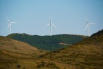 Close up of wind turbines on hills surrounding Sos - Sos del Rey Catolico, Spain