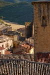 The tower of The Church of St. Mary the Forgiver and rooftops - Sos del Rey Catolico, Spain