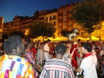 Revelers enjoying a drumming band on Castle Square - San Fermín - Pamplona, Spain (4)