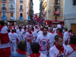 A sea of white and red, revelers enjoying the festival on Town hall square - San Fermín - Pamplona, Spain (7)