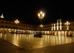 The illuminated and deserted Main square - León, Spain (1)