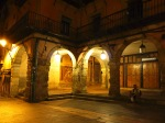 Illuminated arches on Main square at night - Leon, Spain (10)