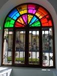 Colourful window in the Leon Tourist Information Centre - Leon, Spain (23)