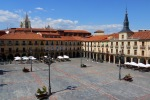The deserted Main square in the morning, with tower of Leon Cathedral in the distance - Leon, Spain (37)
