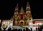 The illuminated Santiago de Compostela Cathedral during the late night light show - Santiago de Compostela, Spain