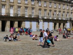 Pilgrims on Obradoiro Square - Santiago de Compostela, Spain