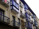 Old town architecture and brightly painted bay windows, taken on Bidebarrieta Kalea - Bilbao, Spain (28)