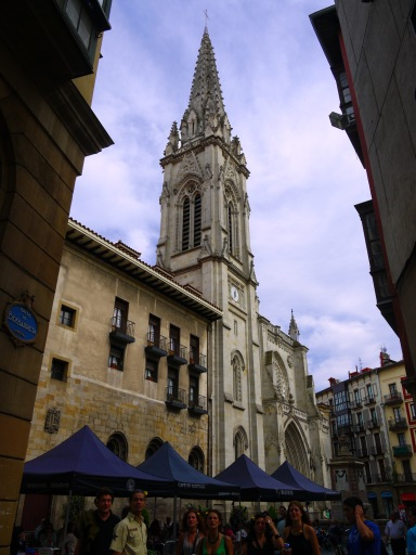 The main façade and spire of St. James' Cathedral, taken from St. James' square - Bilbao, Spain (29)
