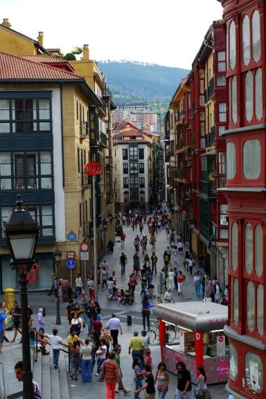 The view along the busy De La Cruz Kalea, taken from Miguel of Unamuno square - Bilbao, Spain (41)