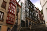 Solitary man and traditional buildings lining the Mallona steps - Bilbao, Spain (42)