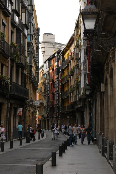 The view along Askao Kalea, with the Begoña Lift high above the rooftops - Bilbao, Spain (44)
