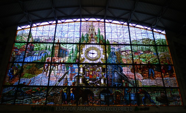 """The impressive glass mural """"The great stained glass window of Bilboa Abando Station"""" by Gaspar Montes Iturrioz Abando (1948) - Bilbao, Spain (65)"""