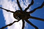 "Up-close short of the Spider sculpture ""Maman"" (1999) by Louise Bourgeois next to the Guggenheim Museum - Bilbao, Spain (88)"