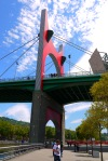 Red arch of La Salve Bridge over River Nervión, taken on Campa de los Ingleses Kaia - Bilbao, Spain (89)