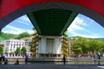 View from underneath the distinctive coloured La Salve Bridge, next to the Guggenheim Museum - Bilbao, Spain (92)