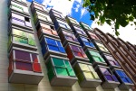 Interesting façade of colourful windows - Bilbao, Spain (105)