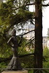 Statue of a Lady with the Almudena Cathedral in the background, taken in Jardines de la Vistillas - Madrid, Spain (48)